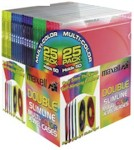 Double Slimline Colour Jewel Cases 25-pk