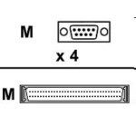 Acceleport Xp - 4-port Dte Fan-out Cable Db-9m