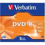 DVD-r Media 4.7GB 16x Matt Silver 5-pk With Branded Jewel Case