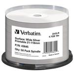DVD-r 4.7GB 16x Wide Silver Inkjet Printable 50-pk Spindle